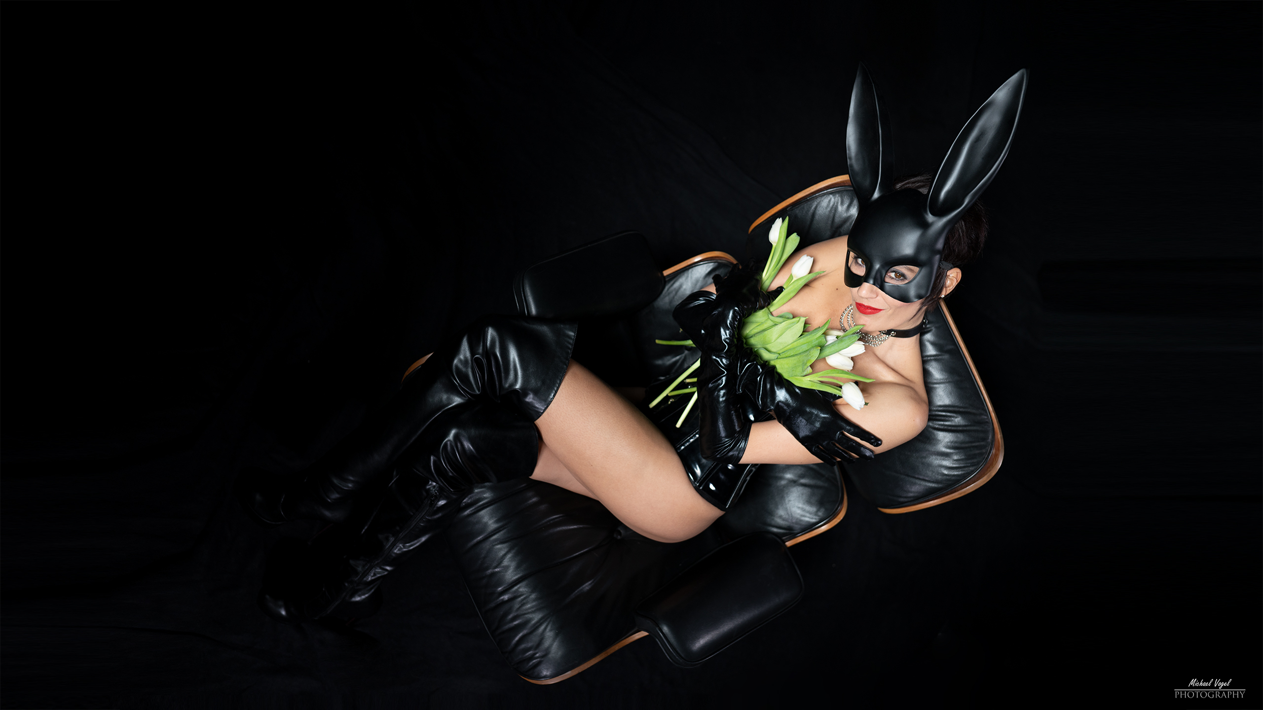 Fetish bunny with tulips