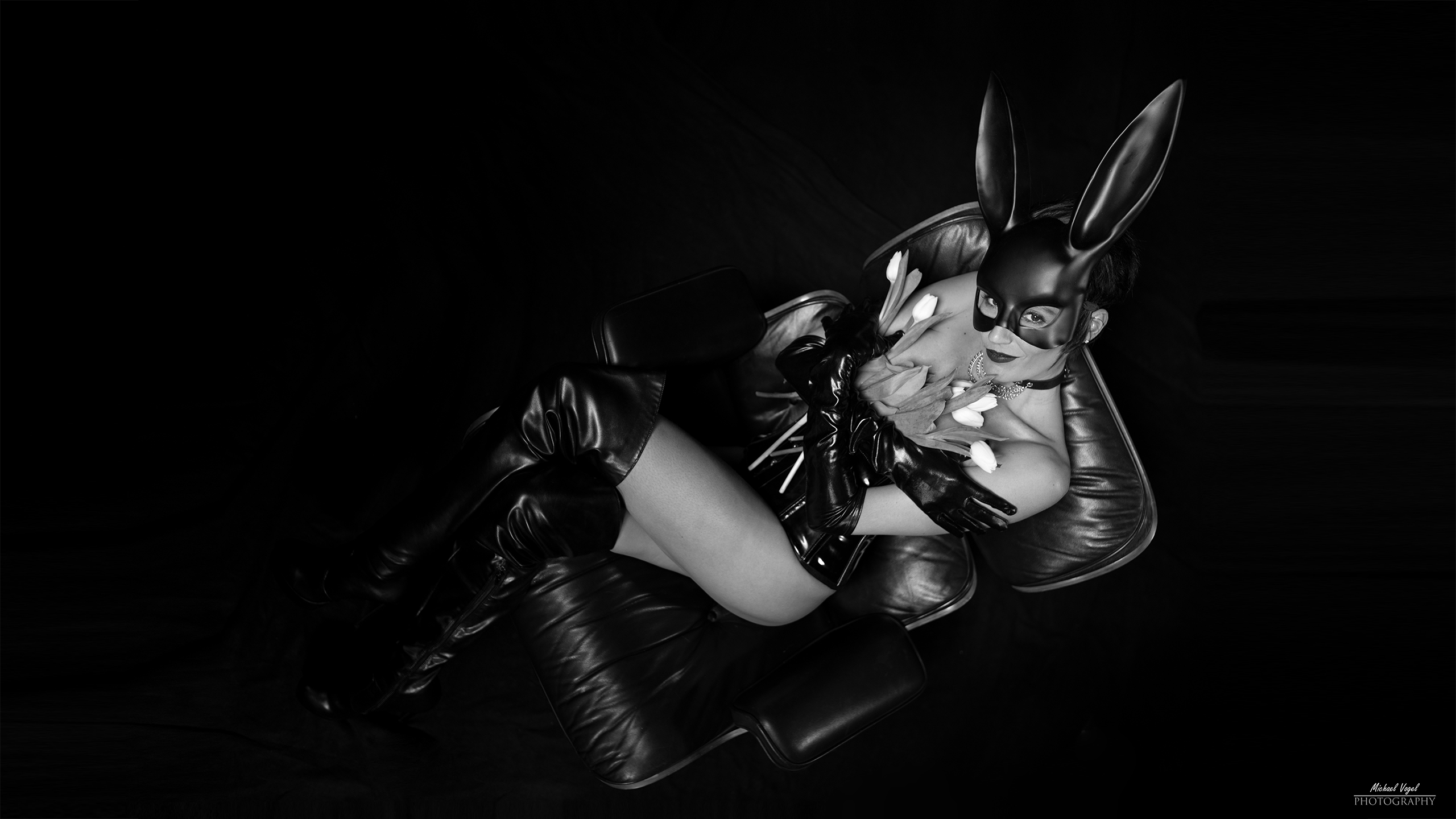 Fetish bunny with tulips - black and white edition